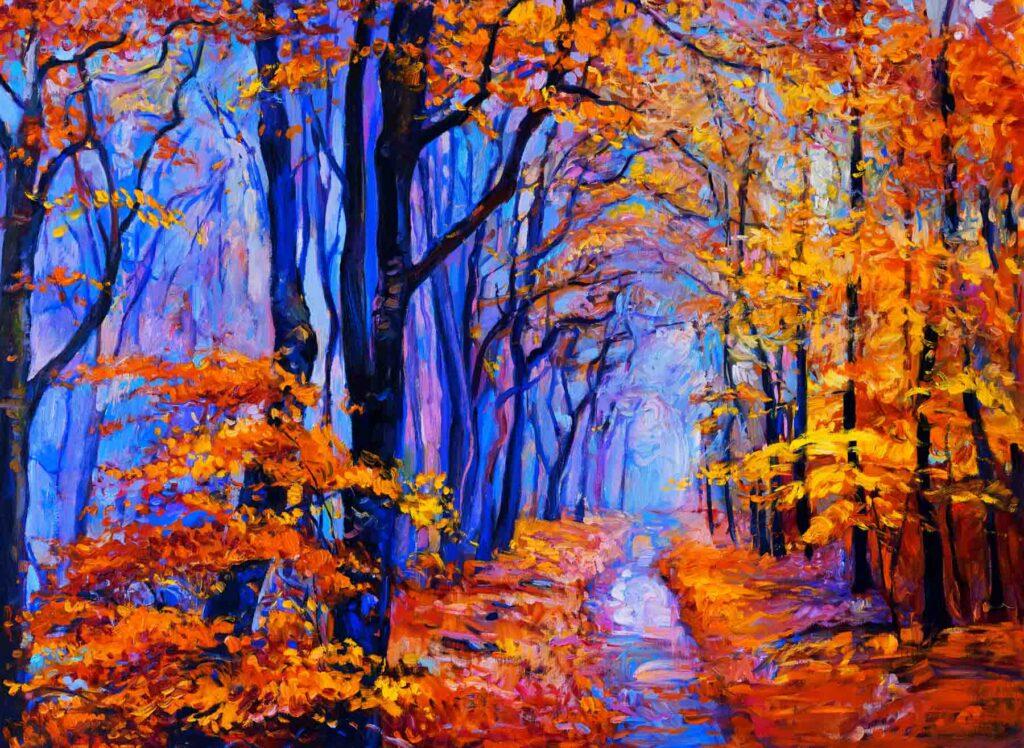 Orange fall foliage blue forest painting