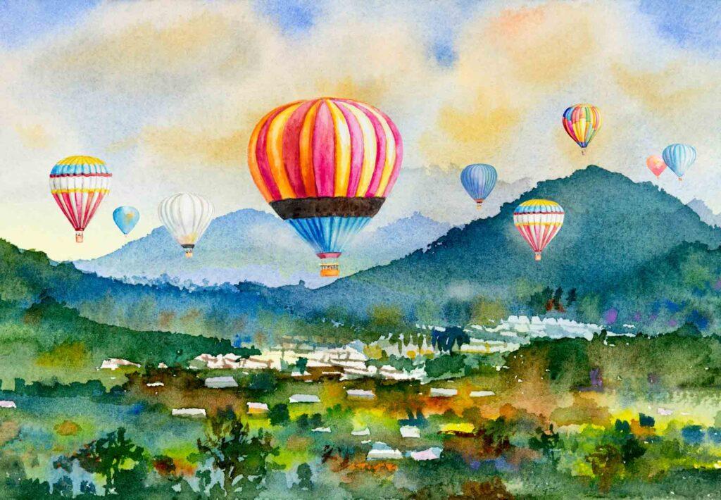 Watercolor painting of hot air balloons
