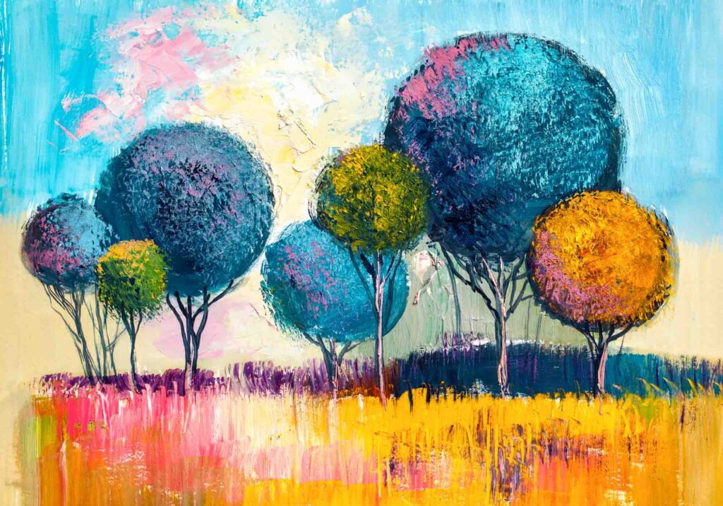 Painting of an yellow and blue landscape